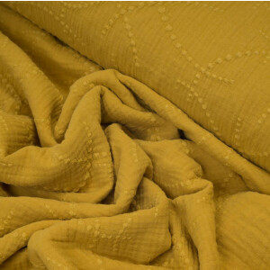 ORGANIC DOUBLE GAUZE EMBROIDERED DOTS OCHRE