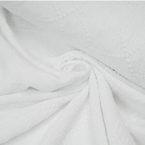 ORGANIC DOUBLE GAUZE EMBROIDERED DOTS WHITE