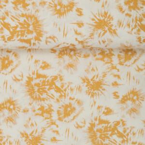 LINEN COTTON ABSTRACT FLOWER GOLD/ECRU