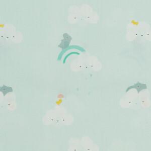 POPLIN SKY CLOUDS RHINO SOFT AQUA