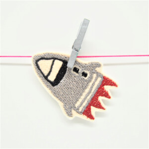 EMBROIDERED PATCH ROCKET GRAY