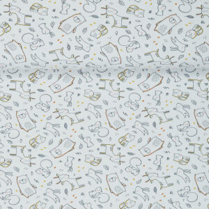 ORGANIC JERSEY CUTE FOREST WHITE