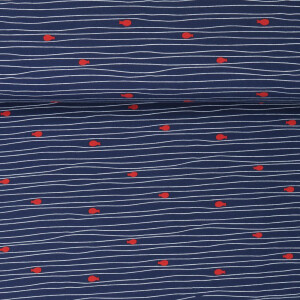 JERSEY FLOATING STRIPES FISHIES NAVY/RED