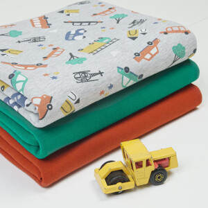 FRENCH TERRY BUNDLE VEHICLES GREEN/RED