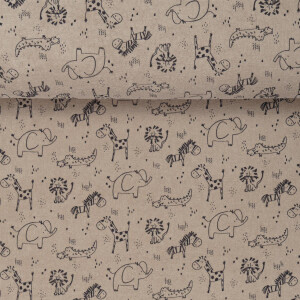 TERRY TOWELING SWEET JUNGLE ANIMALS TAUPE