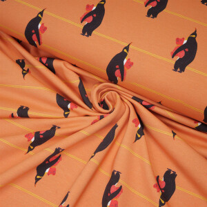 ORGANIC FRENCH TERRY PENGUINS BEDTIME CORAL GOLD