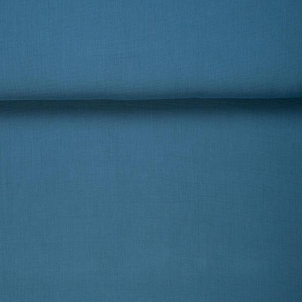 ORGANIC DOUBLE GAUZE BASIC DEEP WATER BLUE