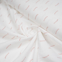 ORGANIC DOUBLE GAUZE SCRIBBLED STRIPES WHITE