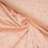 FRENCH TERRY WONDERS OF LIFE FLAMINGO DUSTY PINK