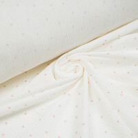 ORGANIC DOUBLE GAUZE STARS OFFWHITE/CORAL